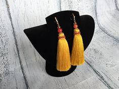 Yellow tassel earrings Gold Tassel earrings Dangle earrings