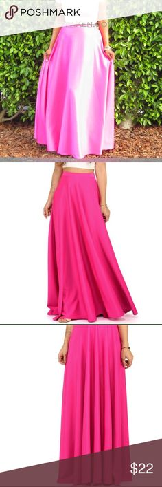 """☀️ Hot pink scuba maxi skirt An elastic waist and a full circle silhouette. No zipper. Approx. 46"""" side seam. 92% Polyester, 8% Spandex. Machine wash cold. Model is 5'7"""" with a 32"""" bust, 25"""" waist and 36"""" hips. She is wearing a size small. // I am modeling the skirt (size small) in the last photo. I'm 5'4, wearing 3"""" heels.  ☀️ THIS ITEM IS LOCATED IN LA AND CAN ONY BE BUNDLED WITH OTHER ITEMS IN LA! ---  * OFFERS VIA PRIVATE FEATURE ONLY. * NO SWAPS * SMOKE/PET-FREE HOME * SHIPS WITHIN 2…"""
