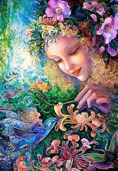 Fairy - Artist - By: Josephine Wall Josephine Wall, Fantasy Paintings, Watercolor Paintings, Wall Paintings, Fairy Pictures, Beautiful Fantasy Art, Fantasy Kunst, Fairy Art, Surreal Art