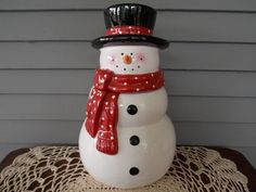 Vintage Christmas Snowman Ceramic Cookie Jar with Top Hat & Red Scarf