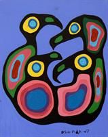 Four Loons - Norval Morrisseau Native Canadian, Canadian Artists, Native American, Artists For Kids, Art For Kids, Woodlands School, Animal Meanings, Woodland Art, Famous Art