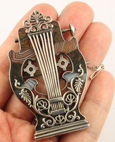 Superb big antique Victorian c 1890 silver Scottish agate Lyre brooch pin