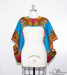 Aqua Dashiki African Print Shrug  One Size by aconversationpiece