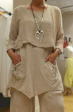 Lagenlook- Very Lighweight- 2 pc twinset tunic By Diverse Italian Range-Stone- #Diversemadeinitaly