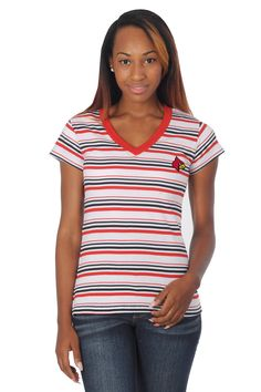 0c86d438 Be a game day fashionista! This classic University of Louisville Cardinals  Striped Tailgate Tee is