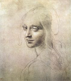 Page: Head of a girl    Artist: Leonardo da Vinci    Completion Date: c.1483    Place of Creation: Milan, Italy    Style: Early Renaissance    Genre: sketch    Technique: metalpoint    Material: paper    Dimensions: 18.1 x 15.9 cm    Gallery: Biblioteca Reale, Turin, Italy    Tags: female-portraits