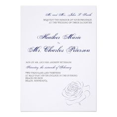 New!! Blue Rose Wedding Invitation
