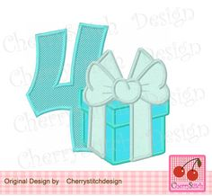 Birthday Number 4 with Gift Box,My 4th Birthday,Birthday number 4 with Tiffany gift box -4x4 5x5 6x6 inch-Machine Embroidery Applique Design by CherryStitchDesign on Etsy