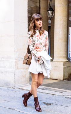 floral blouse with skirt