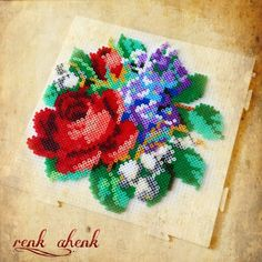 Rose and flowers hama perler beads by renk__ahenk Hama Beads 3d, Perler Bead Art, Pearler Beads, Fuse Beads, Bead Embroidery Patterns, Hama Beads Patterns, Beading Patterns, Iron Beads, Melting Beads
