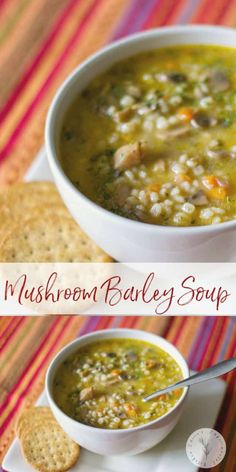 This vegetarian mushroom barley soup made with white mushrooms, vegetables and v. - This vegetarian mushroom barley soup made with white mushrooms, vegetables and vegetable broth is s - Kitchen Recipes, Soup Recipes, Vegetarian Recipes, Cooking Recipes, Healthy Recipes, Vegetarian Barley Soup, Healthy Food, Vegetable Soup Healthy, Recipes Using Vegetable Broth