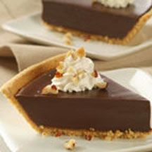 Chocolate Satin Pie - Heated evaporated milk and egg yolks make a rich mixture; add chocolate chips and stir. You end up with a luscious pie enriched with chopped nuts and whipped cream. What a treat it is! One bite and the smooth chocolate richness will have your loved ones asking for more.