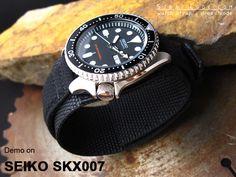 SEIKO Diver SKX007 on MiLTAT 22mm Double Layer Nylon Black Tactical Velcro Watch Strap, design for Seiko SKX007 [22C22BBU54N9A30]