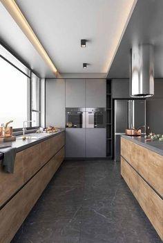 40 Beautiful Kitchen Design Ideas with Modern Style - Architecture Designs - Design della cucina Kitchen Room Design, Kitchen Cabinet Design, Home Decor Kitchen, Kitchen Layout, Rustic Kitchen, Kitchen Ideas, Kitchen Cabinets, Kitchen Modern, Diy Kitchen
