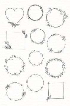 Bullet Journal Writing, Bullet Journal Ideas Pages, Bullet Journal Inspiration, Bullet Journal Frames, Free Doodles, Simple Doodles, Images For Valentines Day, Black Wreath, Doodle Frames