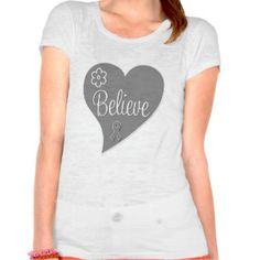 Brain Tumor Believe Gray Heart T-shirt