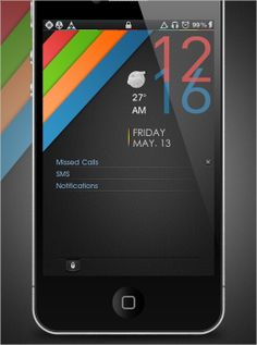 Simple calendar apps, using bright colours and a simple overlapping type for the time.