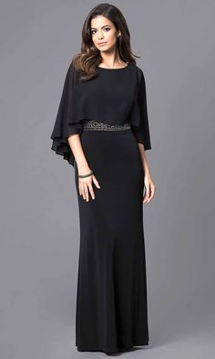 Long Formal Caplet Gown with Embellished WaistShop Simply Dresses for long formal dresses like SG-ASATTBCJ. Short formal dresses, prom dresses, cocktail party dresses, evening gowns, casual and career dresses. Cute Prom Dresses, Prom Dresses 2015, Long Prom Gowns, Formal Dresses For Weddings, Elegant Dresses, Party Dresses, Dress Prom, Dress Wedding, Long Dress Formal