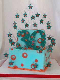Circles & Stars 30th Birthday Cake | Cake Is Life birthday parti, jon cake, circl, star 30th, cake decor, 30th birthday, birthday cakes