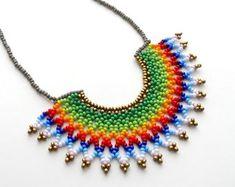 Peyote beaded Multicolor Mexican HALF MOON Necklace handmade | Etsy
