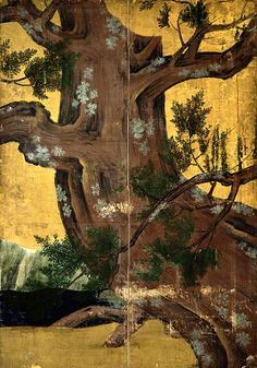 """Detail. """"Cypress Tree"""" (1590?) Momoyama period.  Attributed to Kanō Eitoku (狩野永徳) (1543–1590). Eight-fold screen; Ink on paper covered with gold leaves. Japanese National Treasure. Tokyo National Museum."""