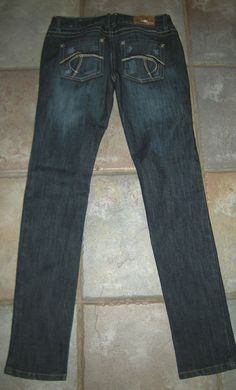 Women's Size 1, Distressed Dark Blue Skinny Jeans by Tyte, Low Rise, Distressed #TyteJeans #SlimSkinny