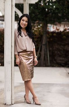 cute little blog | sequin skirt outfit | neutrals | Reference- not ...