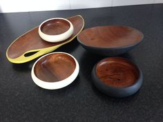 Wooden bowls and platters painted with Annie Sloan chalk paint and wax.