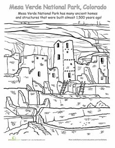 CC Cycle 1 Week 19 Show your child the value of preserving nature and the environment with a fun Mesa Verde National Park coloring page! Cool Coloring Pages, Printable Coloring Pages, Coloring Sheets, Adult Coloring, Coloring Books, American National Parks, Us Road Trip, To Color, Art Lessons