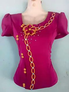 Blouse Back Neck Designs, Kurti Neck Designs, Blouse Designs, Stylish Dress Book, Stylish Dresses, Island Style Clothing, Myanmar Traditional Dress, Stylish Tops, Fashion Sewing