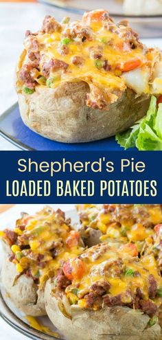 Shepherd's Pie Loaded Baked Potatoes - a stuffed baked potato filled with a hearty beef and vegetable mixture and topped with cheese puts a fun twist on the classic shepherd pie recipe. The family will love this easy dinner idea that is also gluten free. Ground Beef Recipes For Dinner, Dinner With Ground Beef, Gluten Free Recipes For Dinner, Gluten Free Recipes Cheap, Potato Recipes For Dinner, Gluten Free Recipes Ground Beef, Dinner Ideas With Potatoes, Dinner With Vegetables, Dinner Ideas With Beef