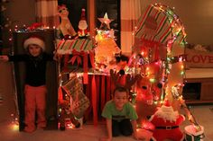 PLAY time .. DIY make North Pole with boxes, etc