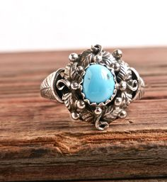 Vintage Sterling Silver Turquoise Ring  Size 7.5 by MaejeanVINTAGE,