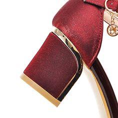 Calçados Femininos-Sandálias-Bico Aberto-Salto Grosso-Preto / Vermelho / Bege-Courino-Ar-Livre / Social / Casual de 4940789 2016 por $50.03