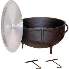 King Kooker 5 gal. Cast Iron Jambalaya Pot with Feet and Aluminum Lid