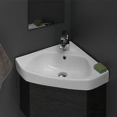 Corner Pedestal Sink, Corner Bathroom Vanity, Drop In Bathroom Sinks, Wall Mounted Bathroom Sinks, Bathroom Layout, Bathroom Styling, Bathroom Ideas, Master Bathroom, Bathroom Organization