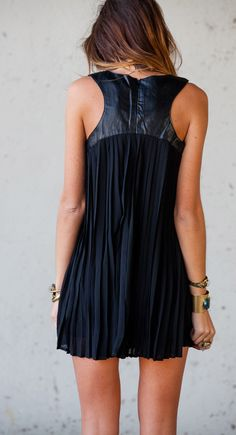 Accordion Dress with Leather Detail