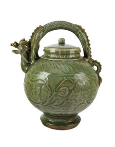 Yaozhou Celadon Ewer with a Dragon Head Spout and Handle  #Dragons #Ceramics #AsianAntiques #Celadon #ChinesePorcelain #Ewes