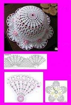 New crochet baby free hat beanie pattern 43 ideas Beau Crochet, Crochet Flower Hat, Crochet Mignon, Crochet Summer Hats, Baby Girl Crochet, Crochet Baby Hats, Cute Crochet, Crochet For Kids, Beautiful Crochet