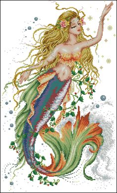 Art - Mermaids & Sirens, Brilliant Mermaid                                                                                                                                                                                 More Mermaid Cross Stitch, Cross Stitch Fairy, Counted Cross Stitch Kits, Cross Stitch Charts, Cross Stitch Designs, Cross Stitch Patterns, Cross Stitching, Cross Stitch Embroidery, Mermaid Pictures