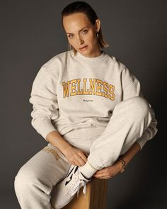"""Sporty & Rich on Instagram: """"Our Wellness crewneck is now online. A portion of the proceeds of this drop will be donated to @surfrider 💙"""" Emily Oberg, Gone Rogue, Amber Valletta, Campaign Fashion, Blonde Beauty, Strike A Pose, Heather Grey, Wellness, Crew Neck"""