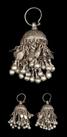Afghanistan | Pair of woman's earrings; silver // ©Quai Branly Museum.  71.1934.4.38.1-2