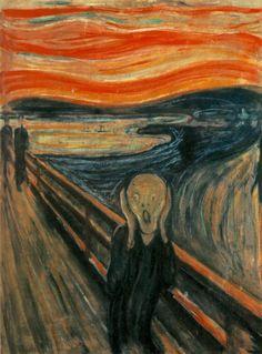 De Schreeuw van Edvard Munch. Complementaire kleuren (oranje/ blauw), warm-koud contrast, het zijn onrealistische golvingen in de lucht