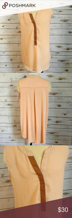 "Sunday in Brooklyn Blush Blouse Sunday in Brooklyn Blush Blouse  Size M 19"" flat lay bust measurement. Sunday in Brooklyn brand purchased at Anthropoligie. Light pink color 1/4 button blouse with faux leather trim over buttons. Chiffon like front cotton like flowy back Please let me know if you have any questions. I ship the same day as long as the post office is still open. Have a great day, thanks for checking out my closet and happy poshing! Anthropologie Tops Blouses"