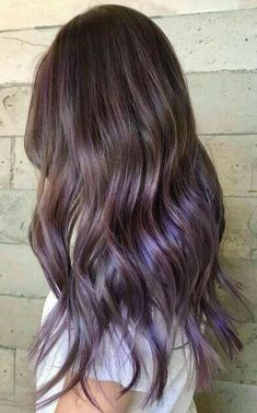 Purple Brown Hair, Medium Brown Hair, Brown Hair With Blonde Highlights, Light Brown Hair, Purple Tinted Hair, Subtle Purple Hair, Purple Hair Streaks, Purple Wig, Purple Style