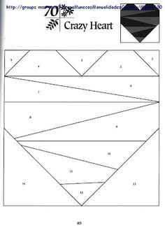 Crazy heart - paper piecing pattern