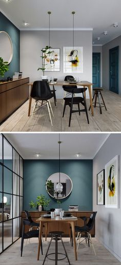 salle à manger mur bleu canard clemaroundthecorner.com