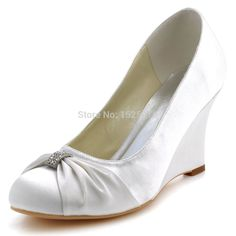 Fast Shipping EP2005 US Ivory Women Formal Bridal Party Pumps Round Closed Toe Wedge Heel Pleat Rhinestones Satin Wedding Shoes-in Pumps from Shoes on Aliexpress.com   Alibaba Group