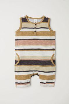H&M H & M - Sleeveless Cotton Jumpsuit - Beige/striped - Kids Boho Baby Clothes, Newborn Boy Clothes, Baby Olive, Romper Suit, Cotton Jumpsuit, Stylish Baby, Coton Bio, Fashion Kids, Baby Wearing