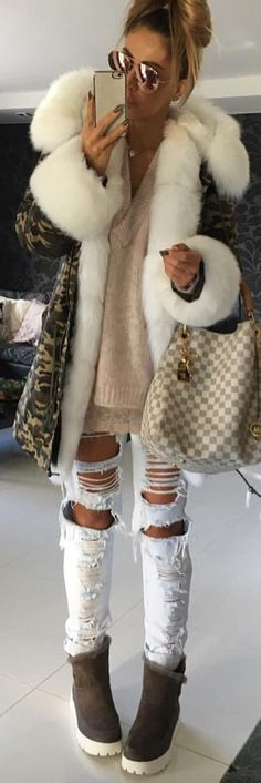 #winter #fashion /  Army Coat   Light Pink Knit   Destroyed Bleached Jeans   Dark Booties